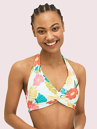 tropical floral knotted halter bikini top