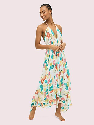 tropical floral halter cover-up maxi dress