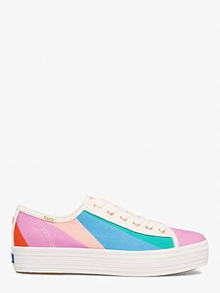 keds x kate spade new york triple kick multi-striped canvas sneakers
