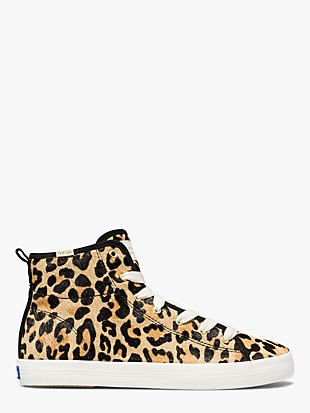 keds x kate spade new york kickstart hi leopard calf hair sneakers