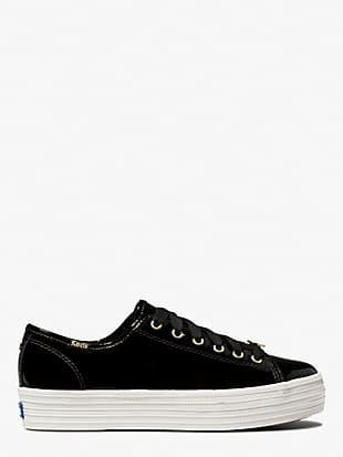 keds x kate spade new york triple kick patent black sneakers