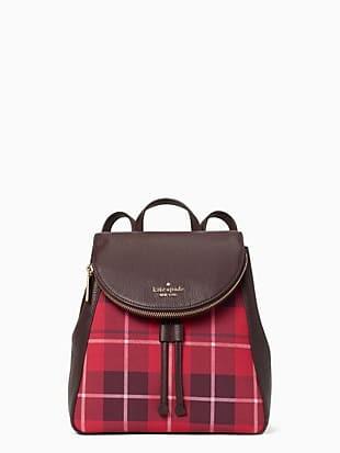 leila plaid medium flap backpack