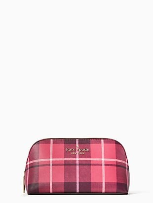 staci plaid small cosmetic case